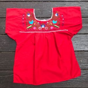 Vintage red embroidered Mexican blouse